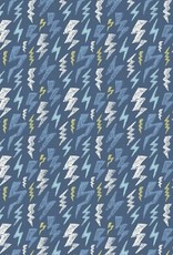 Poppy *Tricot katoen GLOW in the dark thunderstruck blauw