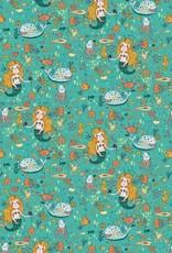 Poppy Tricot katoen GLOW in the dark zee aqua