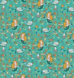 Poppy *Tricot katoen GLOW in the dark zee aqua