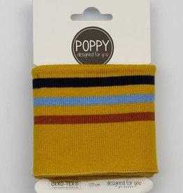 Poppy Cuffs 3 strepen oker, zw-bl-roest 135*7cm