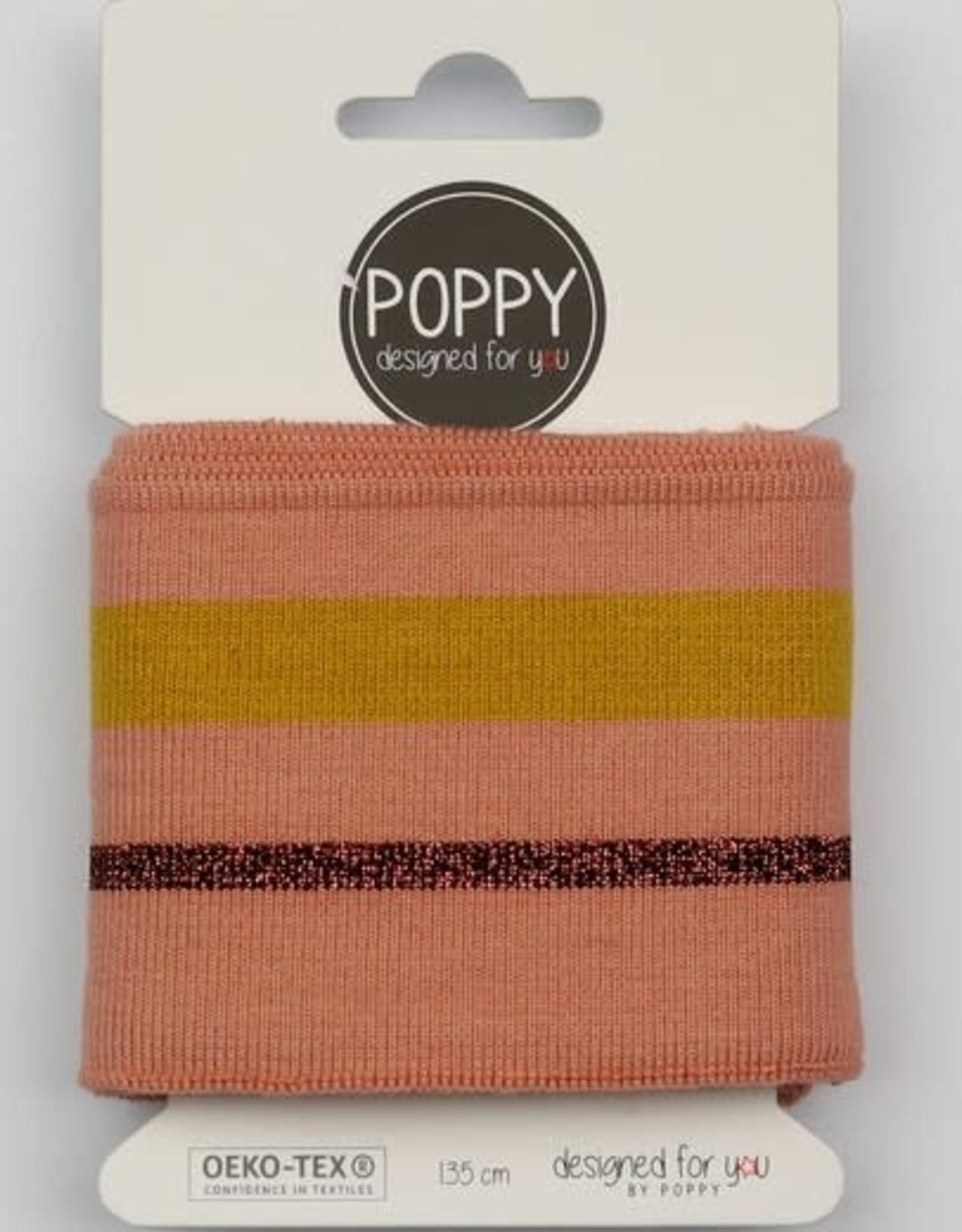 Poppy Cuffs 2 strepen zalm, oker-lurex koper 135*7cm