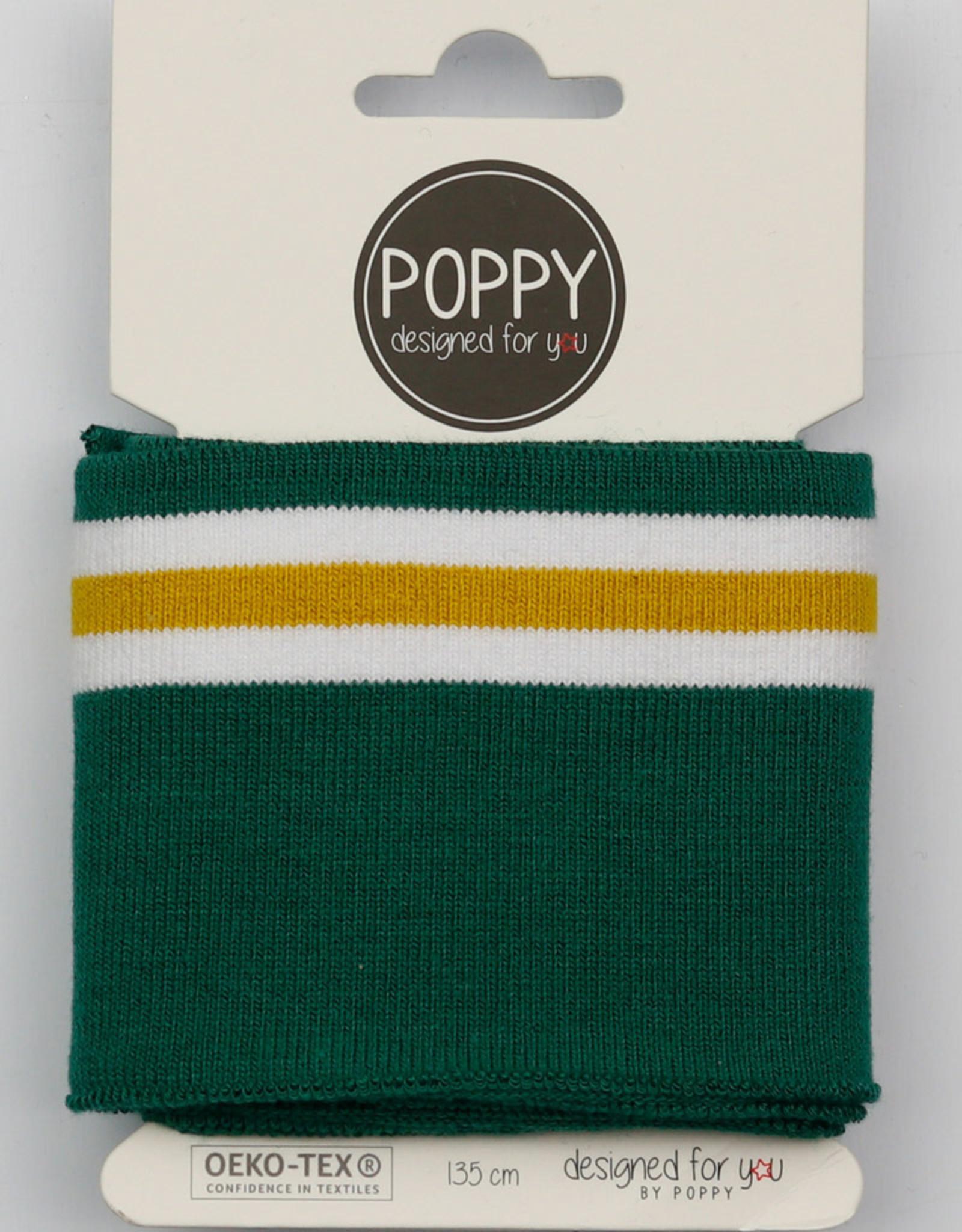 Poppy Cuffs 3 strepen groen wit/oker 135*7cm