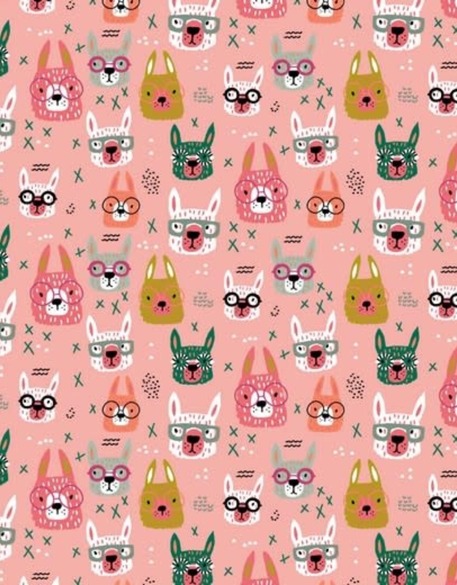 Poppy *Tricot katoen cool glasses lama roze