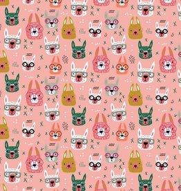 Poppy Tricot katoen cool glasses lama roze