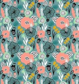 Poppy Tricot katoen flowery fresh sage