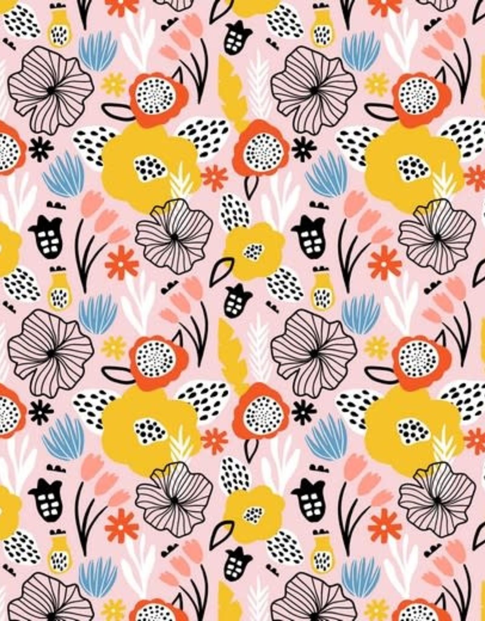 Poppy Tricot katoen flowery zalm