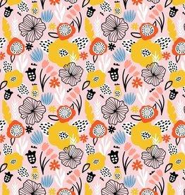 Poppy *Tricot katoen flowery zalm