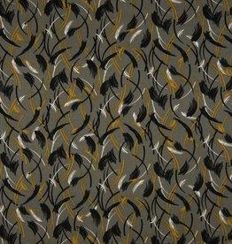 COUPON Viscose twill abstract khaki 85*140cm