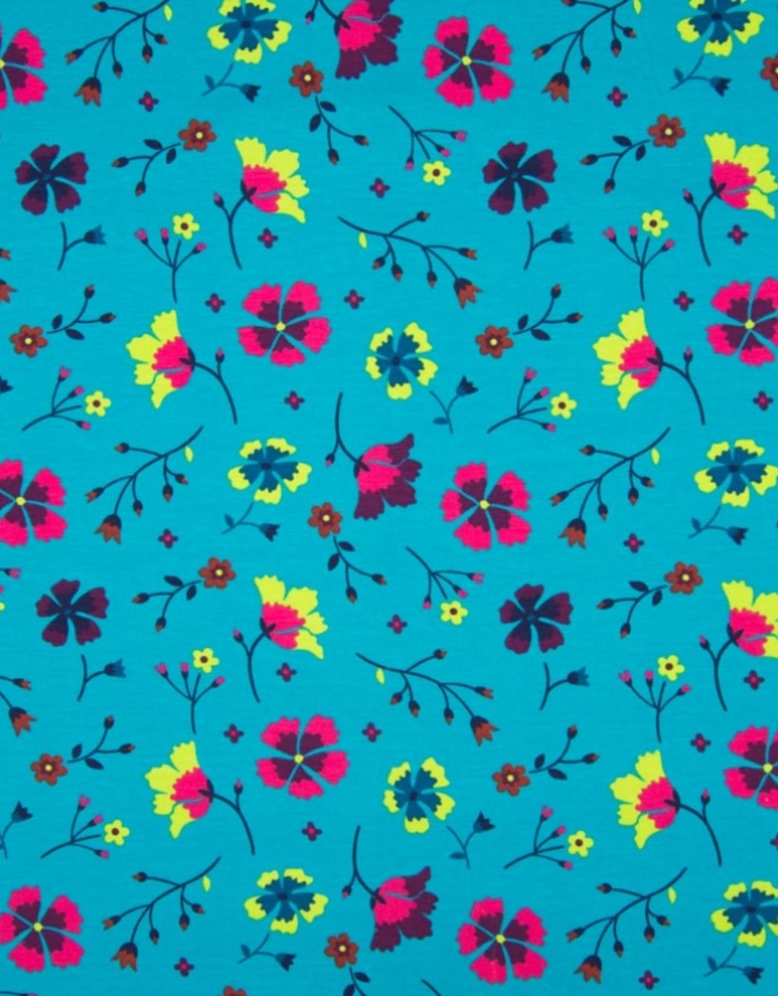 Tricot katoen folk floral flowers