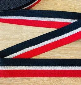 Elastiek 25mm lurex rood-zilver-navy