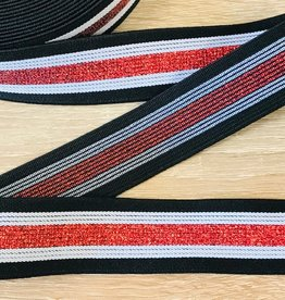 Elastiek 30mm lurex zwart-wit-rood