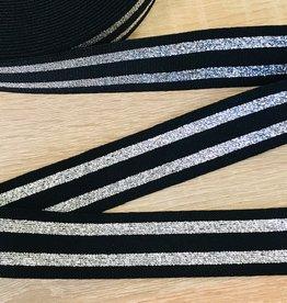 Elastiek 30mm lurex zwart-zilver