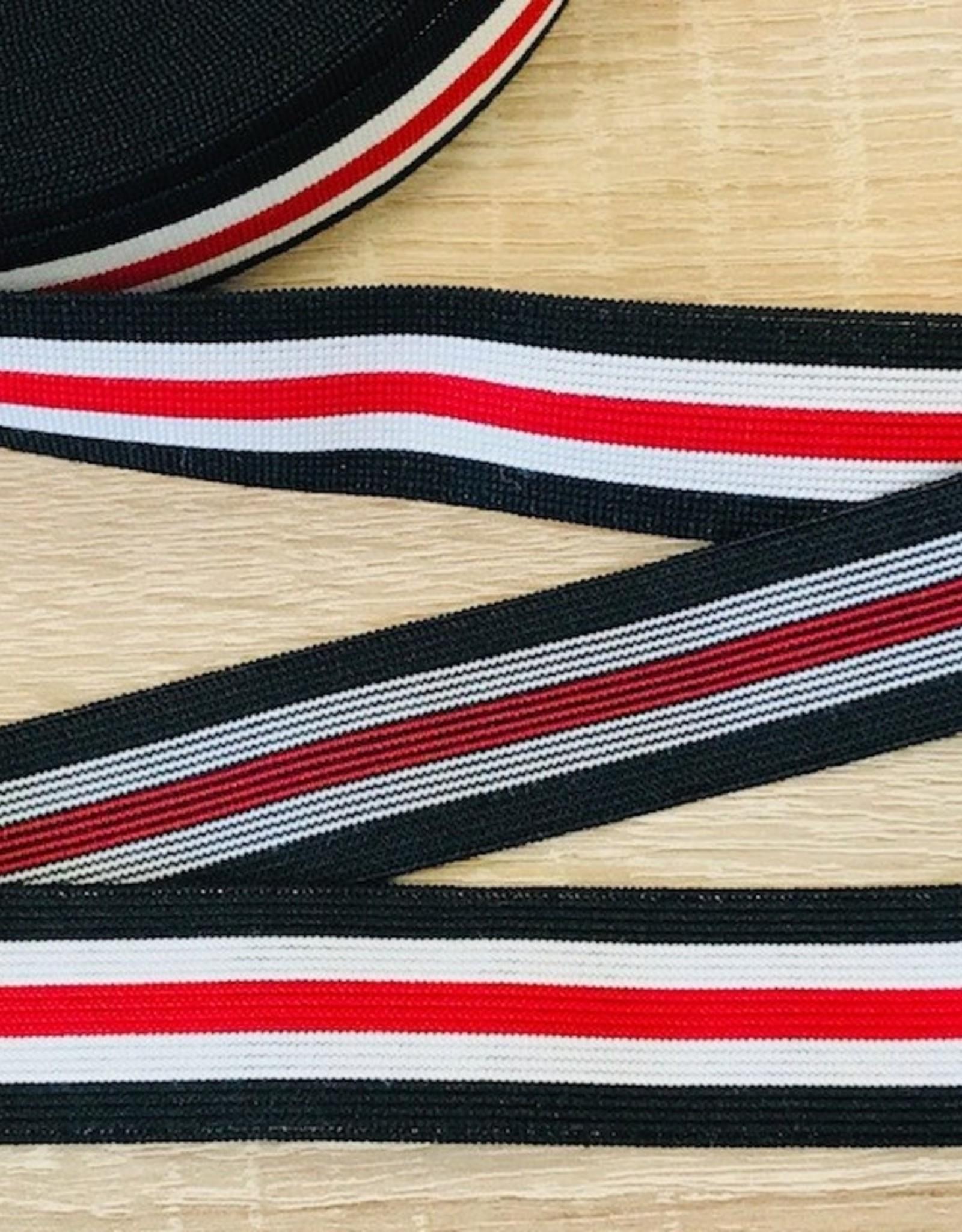 Elastiek 25mm zwart wit rood