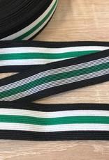 Elastiek 25mm zwart wit groen