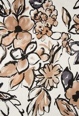 Katoen satijn spandex flower beige grijs