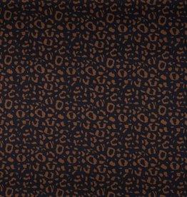 Katoen satijn spandex leopard navy tobacco