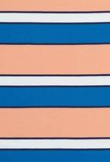 Swafing Tricot katoen billy stripes zalm-wit-navy-blauw
