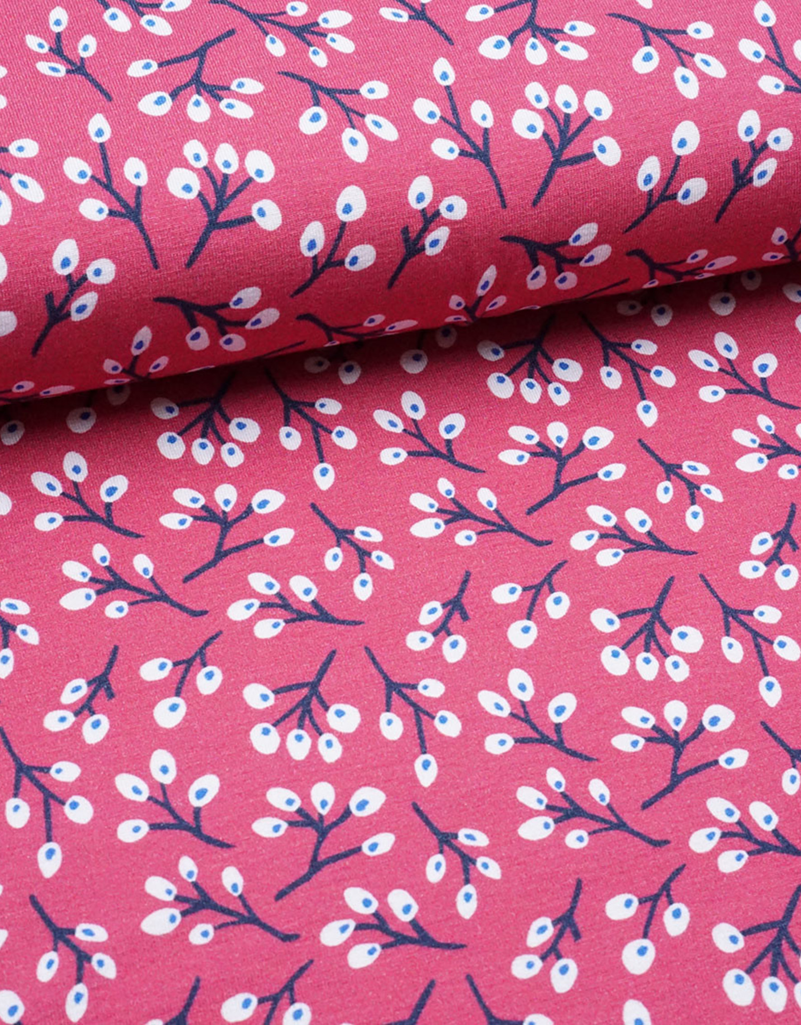 Swafing Tricot viscose ella leaves cherry