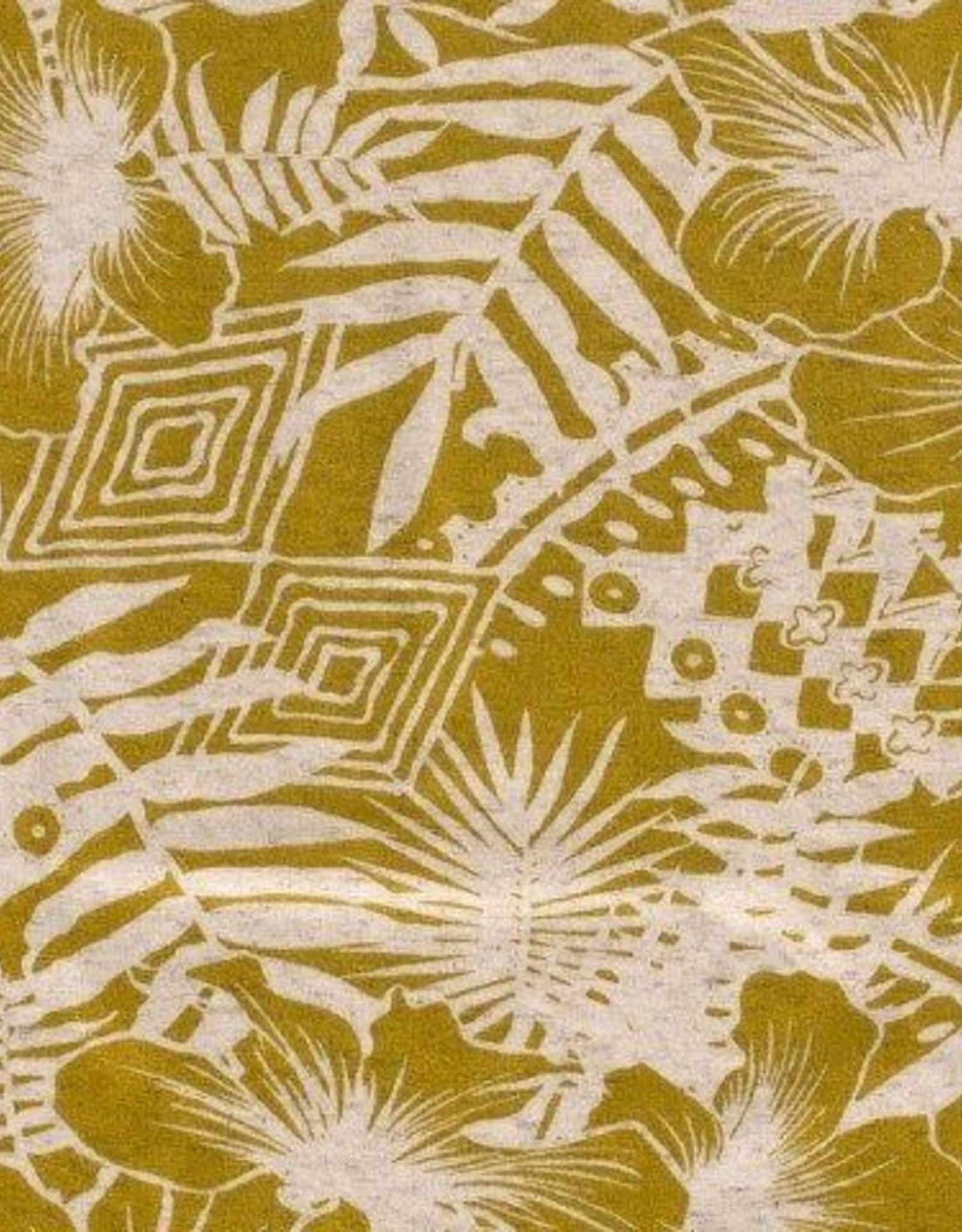 Tricot Viscose print flower mosterd