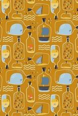 Poppy Katoen poplin bottle post oker