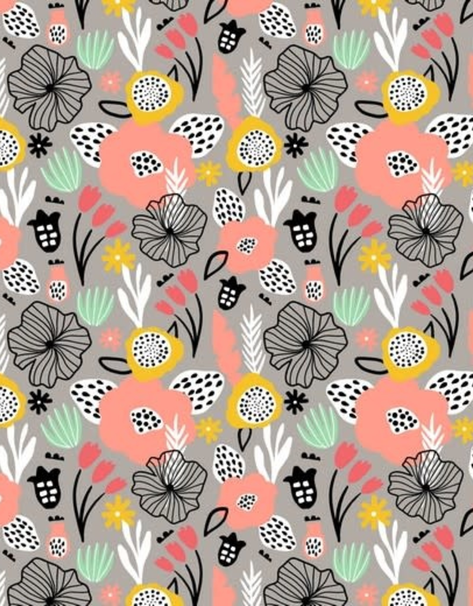 Poppy Tricot katoen flowery grijs