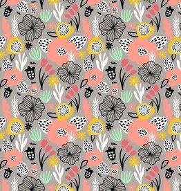 Poppy *Tricot katoen flowery grijs