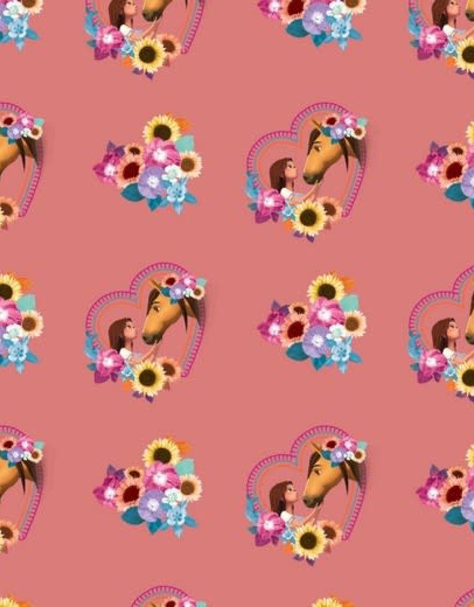 Poppy Tricot katoen digital spirit roze