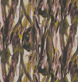 *Polyester pearl peach abstract groen