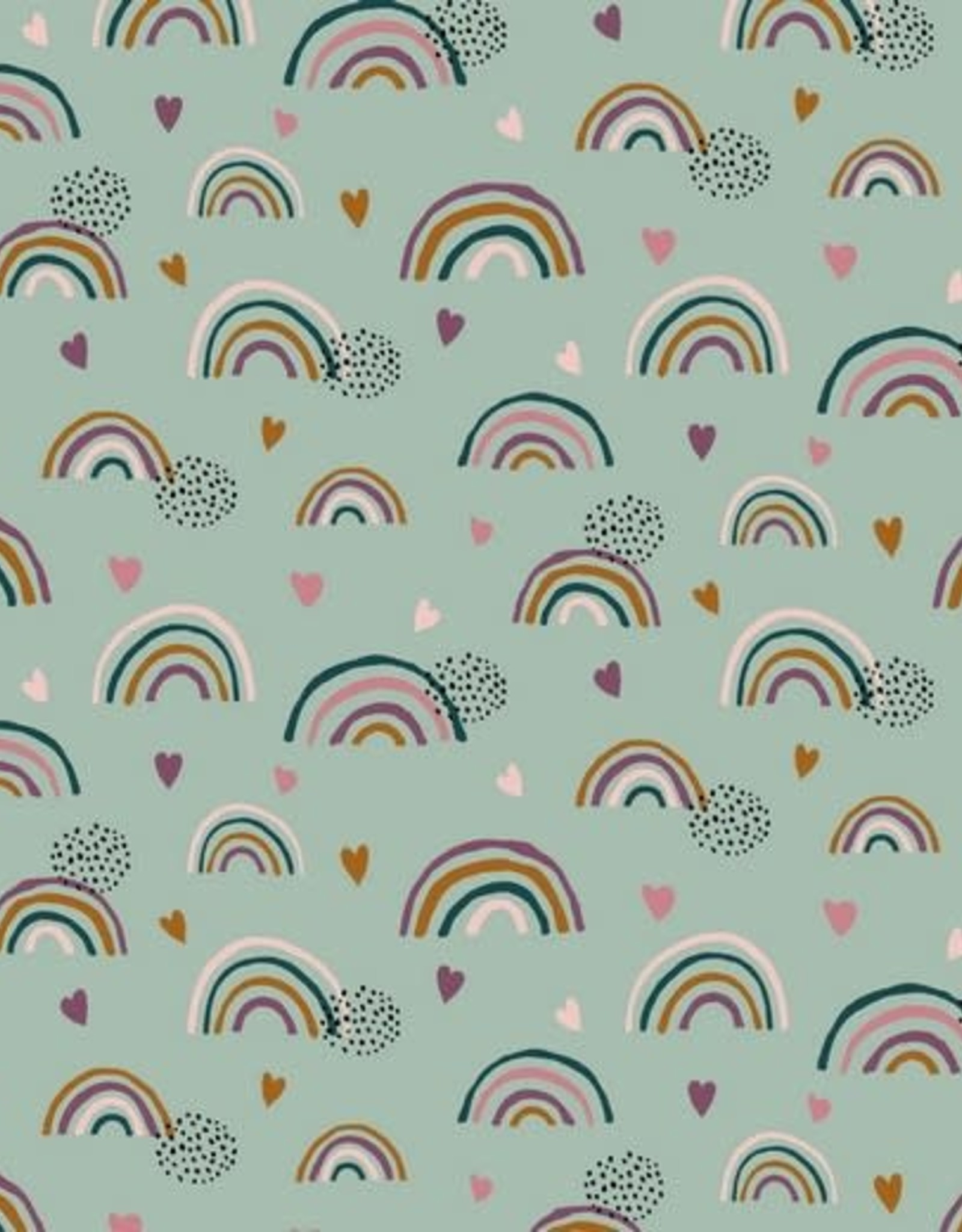 Poppy *Tricot katoen GOTS rainbow munt