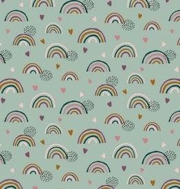 Poppy Tricot katoen GOTS rainbow munt