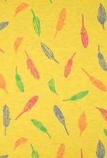 Tricot katoen melange feathers yellow