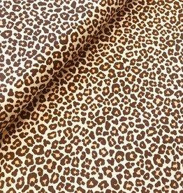 Poplin katoen leopard bruin