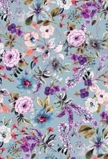 Tricot viscose digital flowers light blue