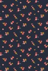 Poppy Tricot katoen lovely flowers navy