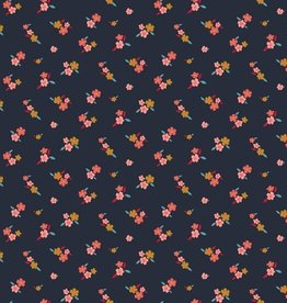 Poppy Tricot katoen lovely flowers navy
