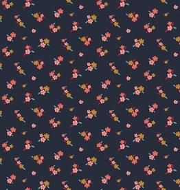 Poppy *Tricot katoen lovely flowers navy