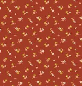Poppy Tricot katoen lovely flowers roest