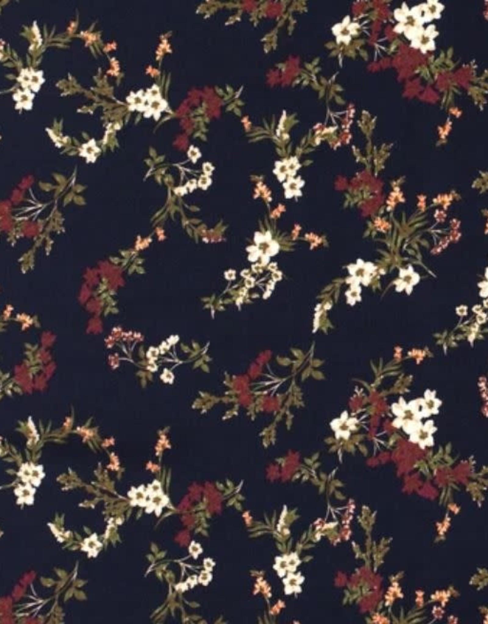 Viscose small flowers navy
