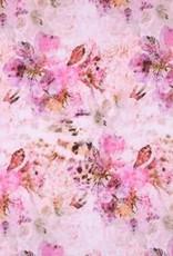 Tricot katoen flowers panterbloem roze