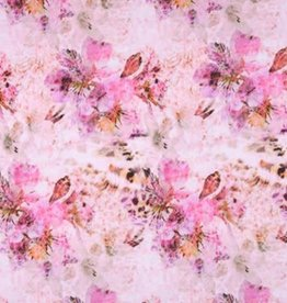 *Tricot katoen flowers panterbloem roze