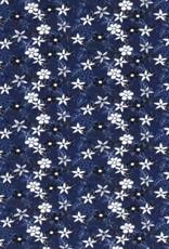 *Tricot katoen flowers blauw