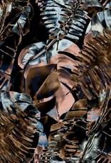 Tricot Viscose leaves zwart