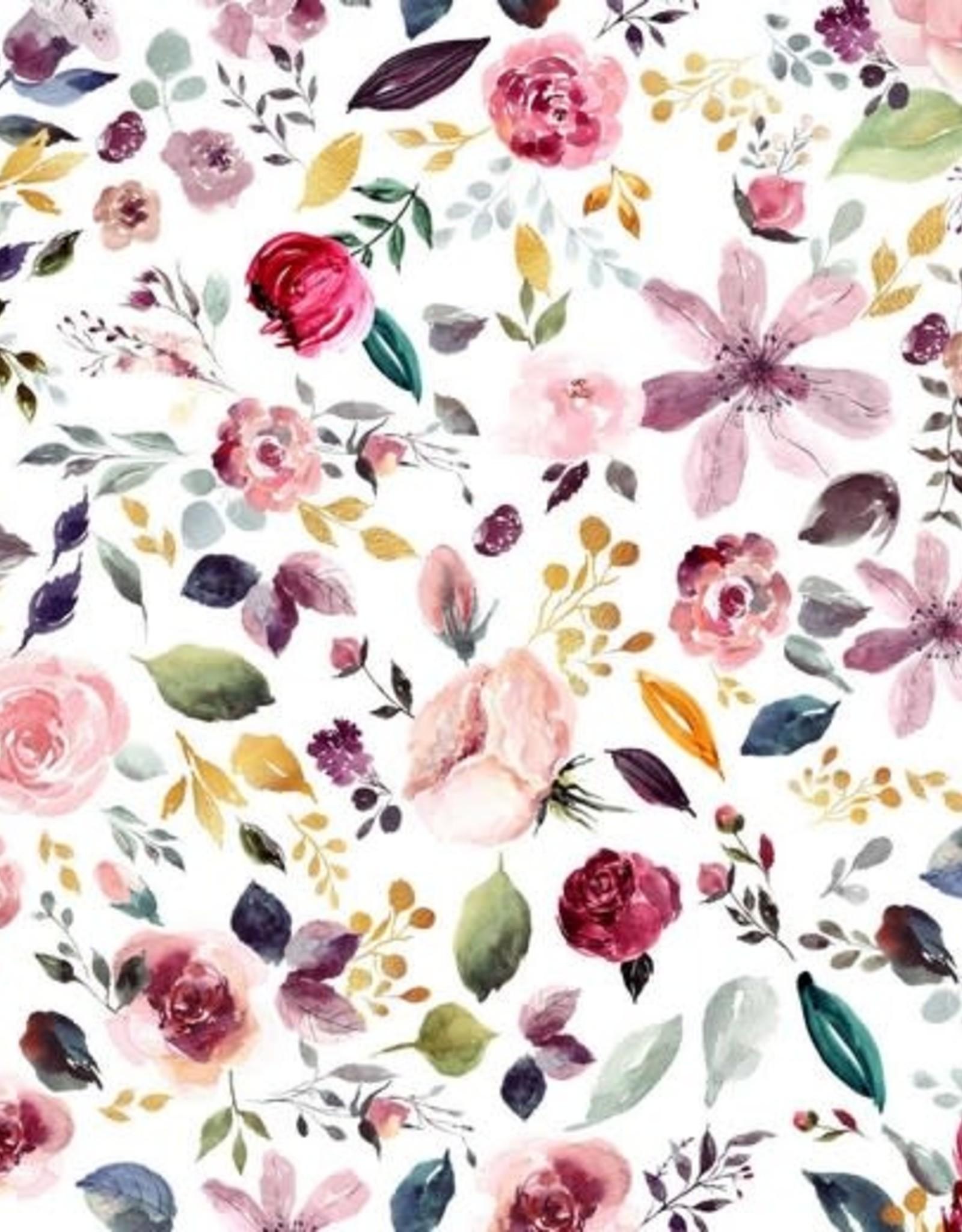 Tricot katoen GOTS wild flowers wit