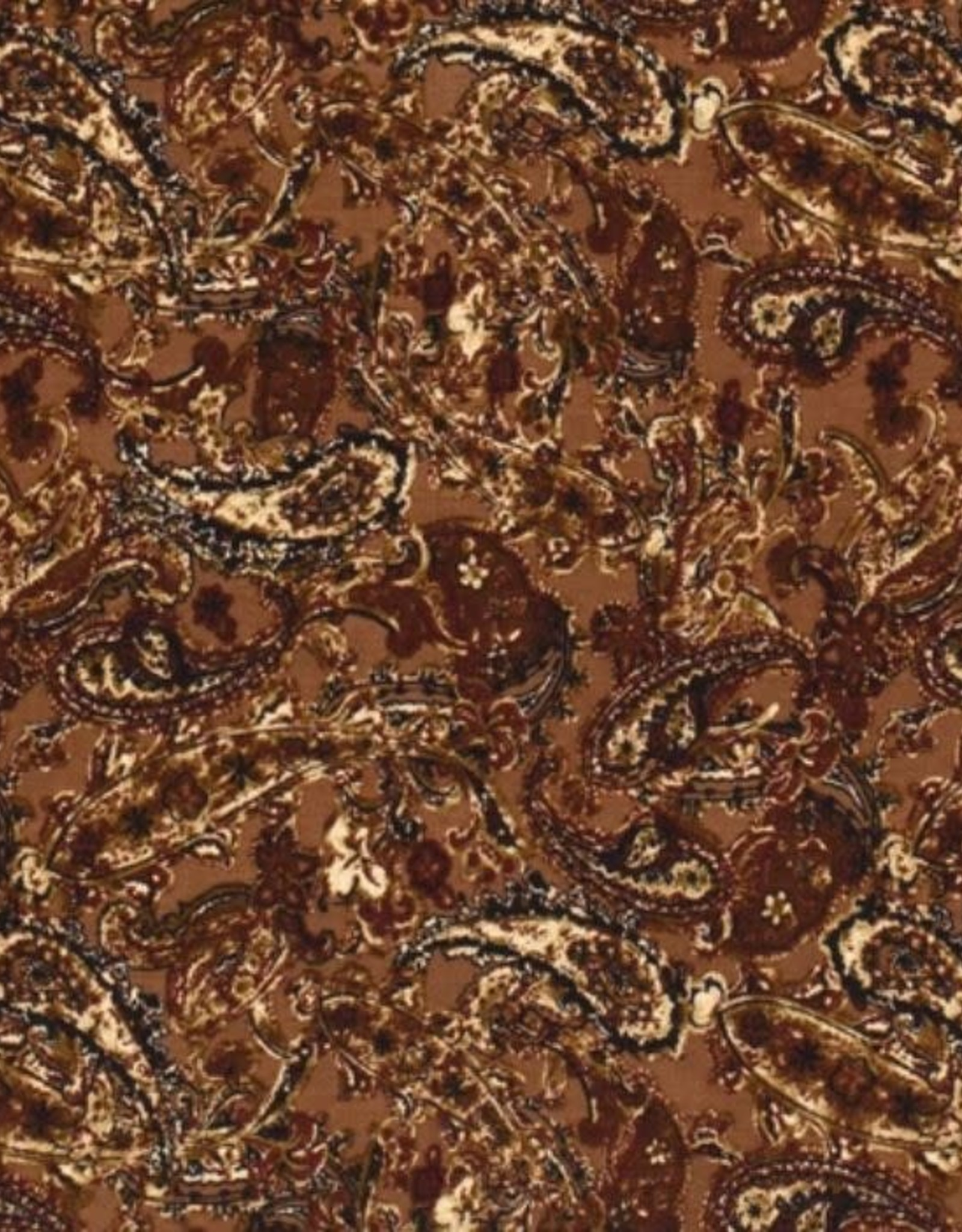 COUPON Polyester peach skin Paisley cognac 155*140