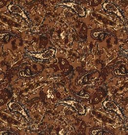 Polyester peach skin Paisley cognac