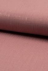 Qjutie Bambino Double gauze stripes lurex oud roze
