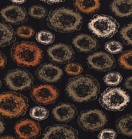 *Tricot viscose circles zwart roest