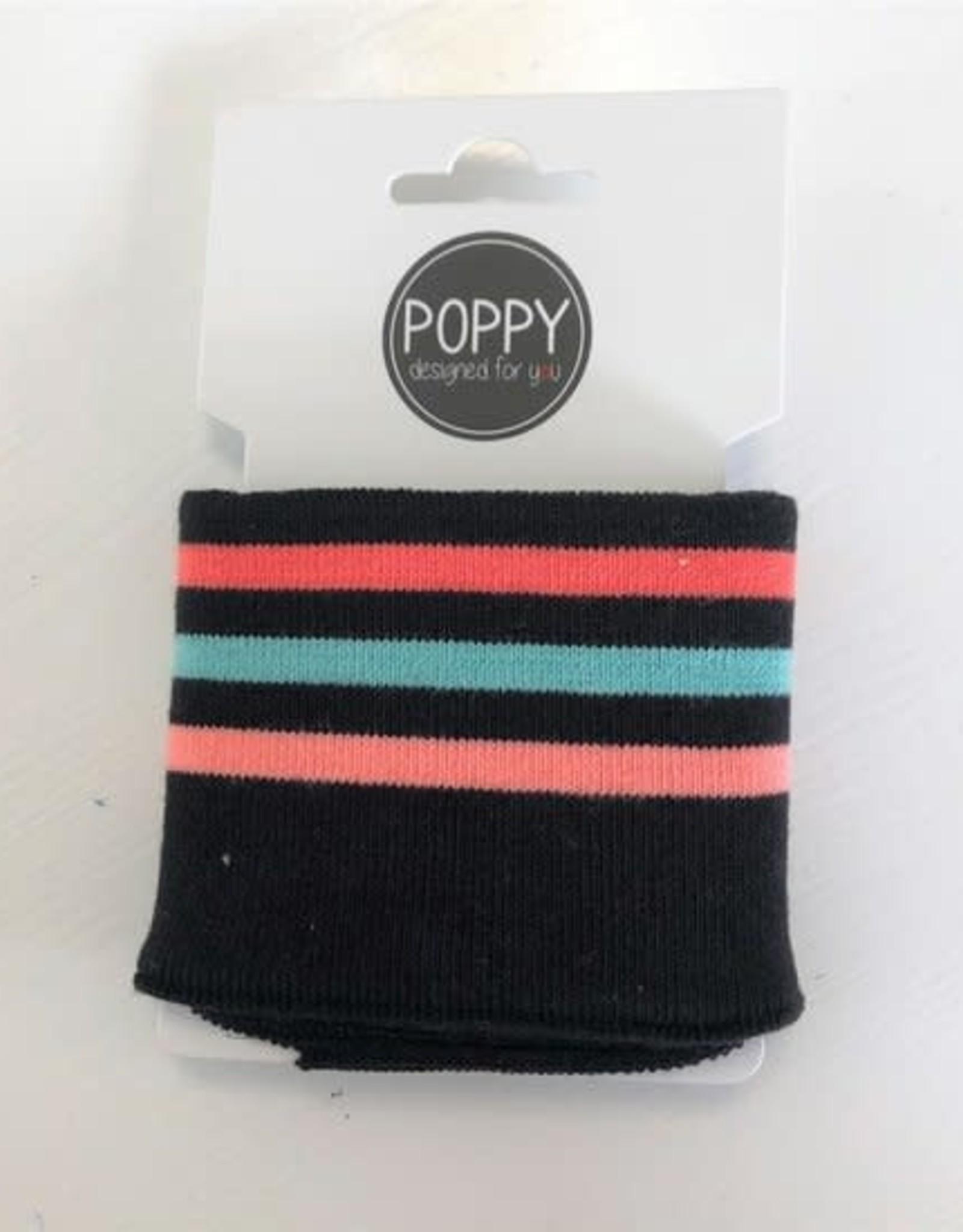 Cuffs strepen  zwart rainbow 135*7cm