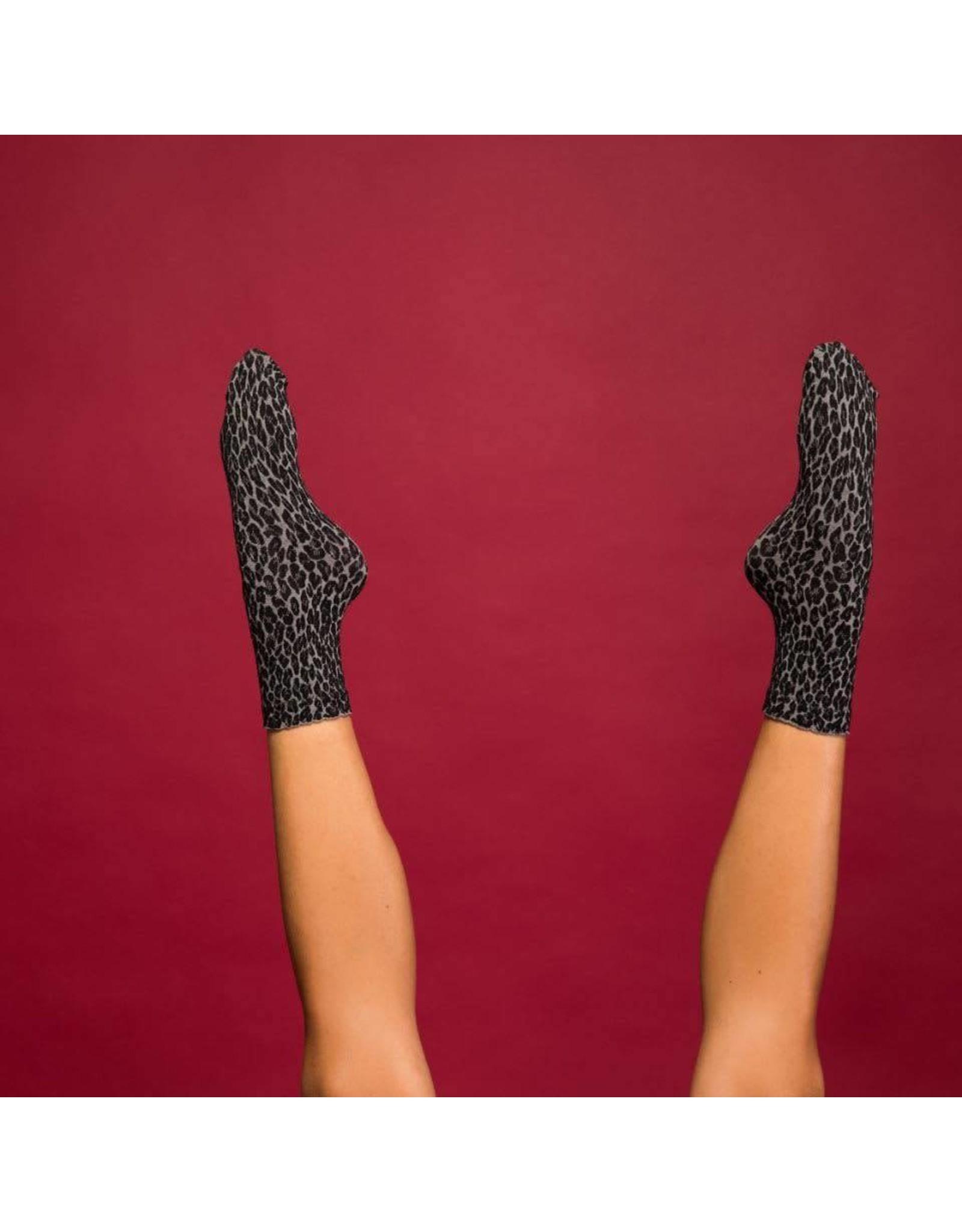 Pinned by k Leopard Socks Grey