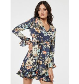 Rut & Circle Jennie Wrap Dress Blue Flower